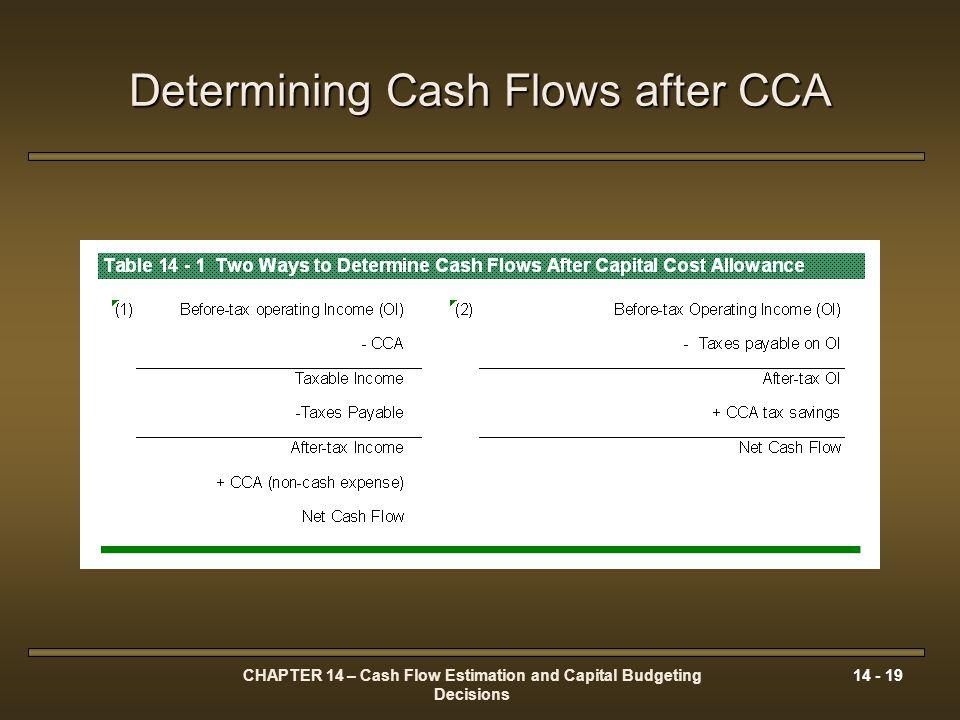 Determining Cash Flows after CCA