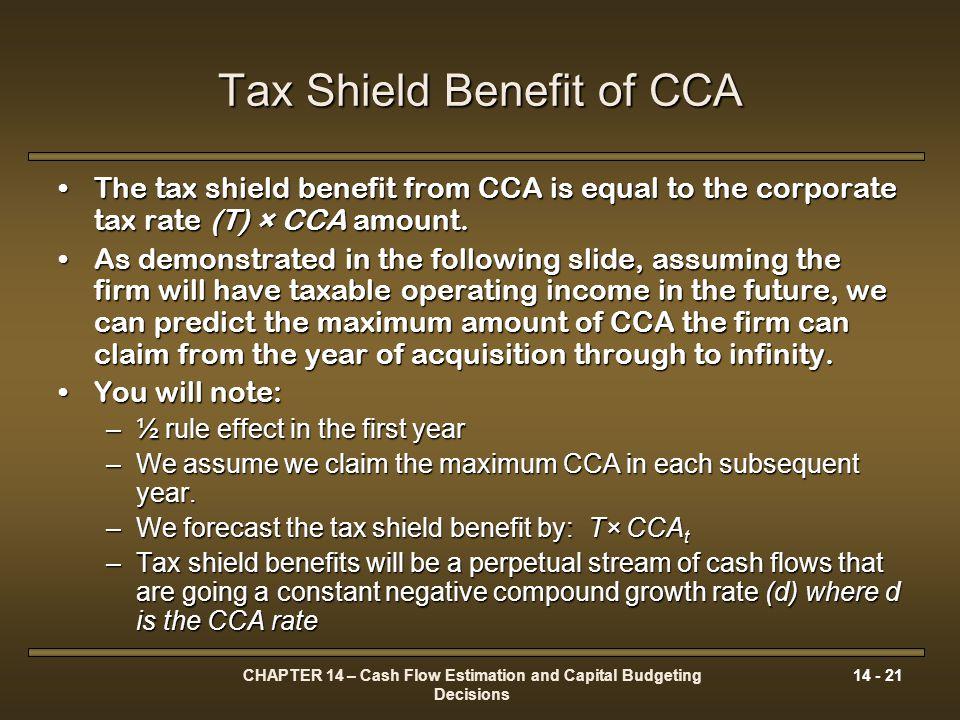 Tax Shield Benefit of CCA