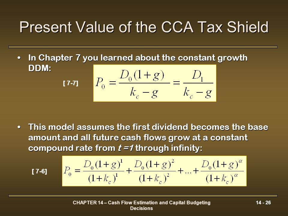 Present Value of the CCA Tax Shield