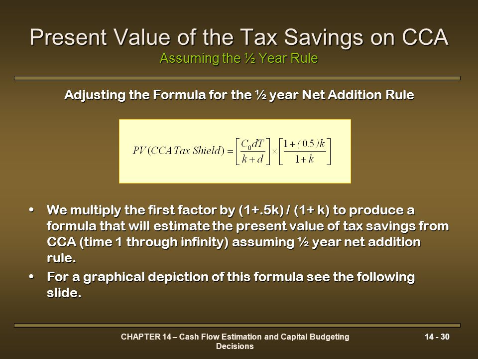 Present Value of the Tax Savings on CCA Assuming the ½ Year Rule