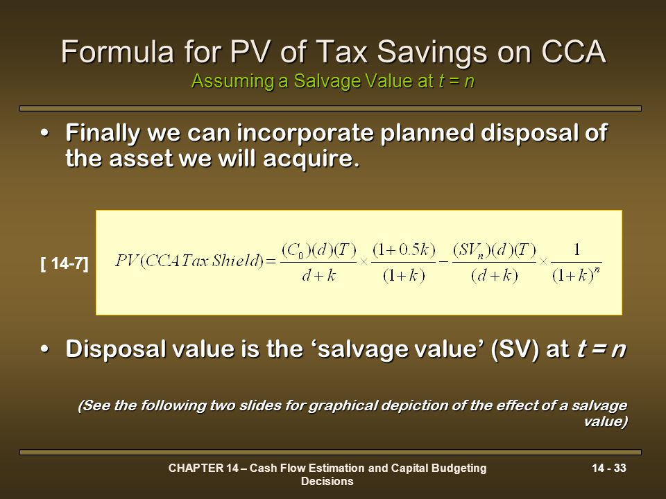 Formula for PV of Tax Savings on CCA Assuming a Salvage Value at t = n
