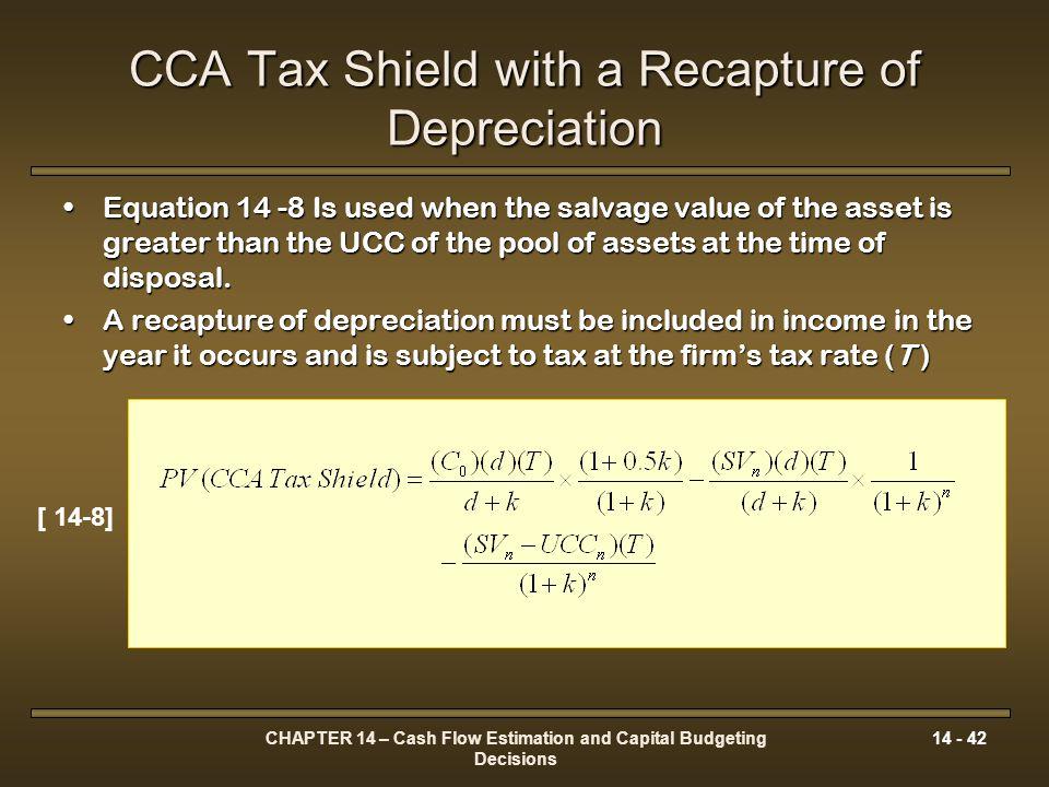 CCA Tax Shield with a Recapture of Depreciation