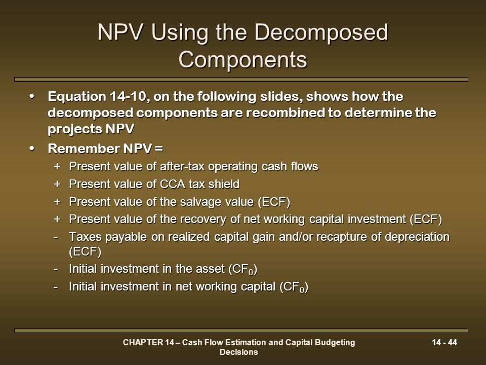 NPV Using the Decomposed Components
