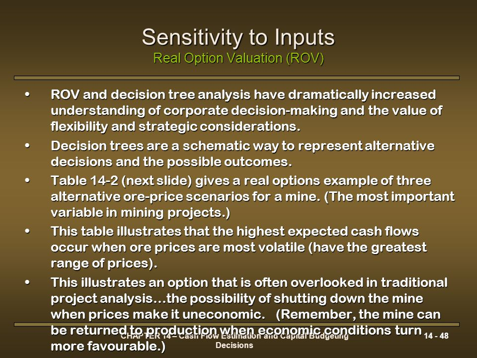 Sensitivity to Inputs Real Option Valuation (ROV)