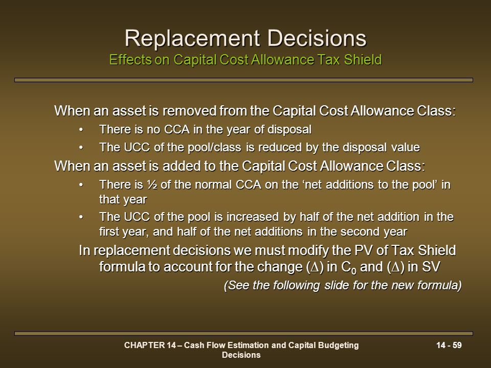 Replacement Decisions Effects on Capital Cost Allowance Tax Shield