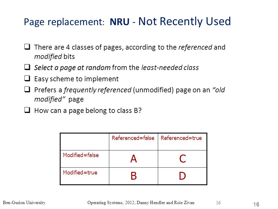Page replacement: NRU - Not Recently Used