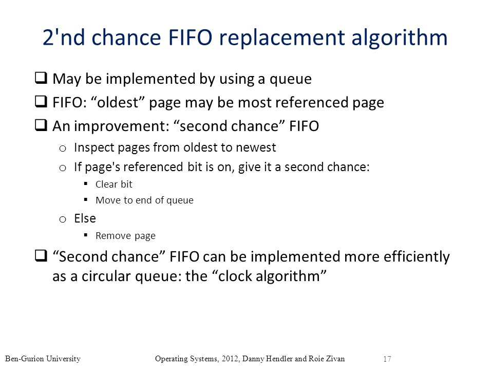 2 nd chance FIFO replacement algorithm