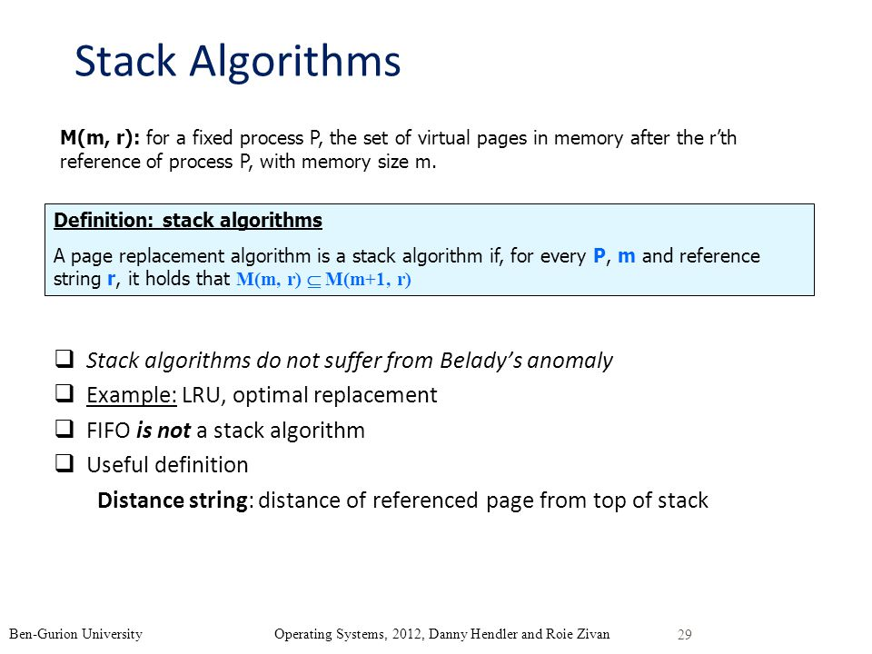 Stack Algorithms Stack algorithms do not suffer from Belady's anomaly