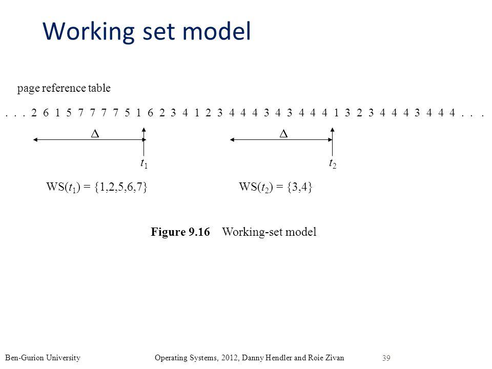 Working set model  t1 t2 WS(t1) = {1,2,5,6,7} WS(t2) = {3,4}