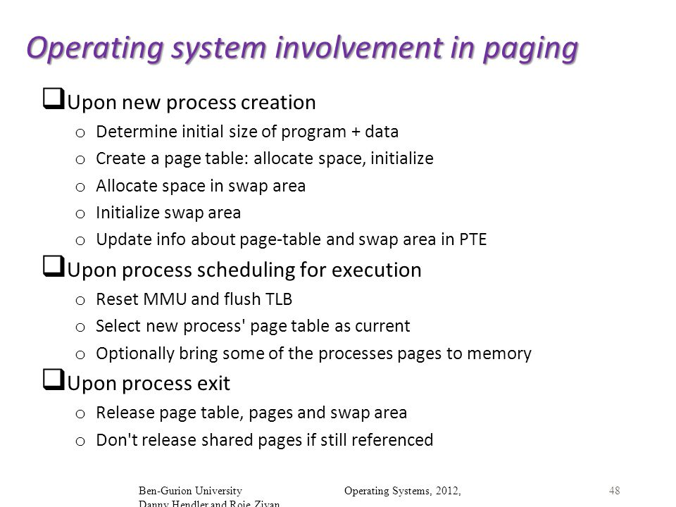 Operating system involvement in paging