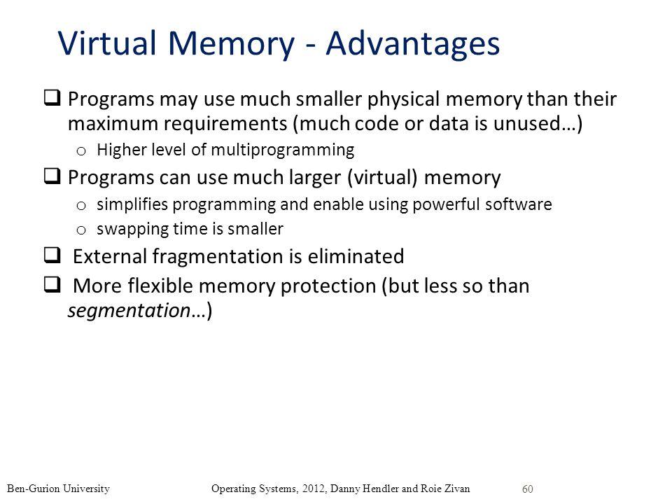 Virtual Memory - Advantages