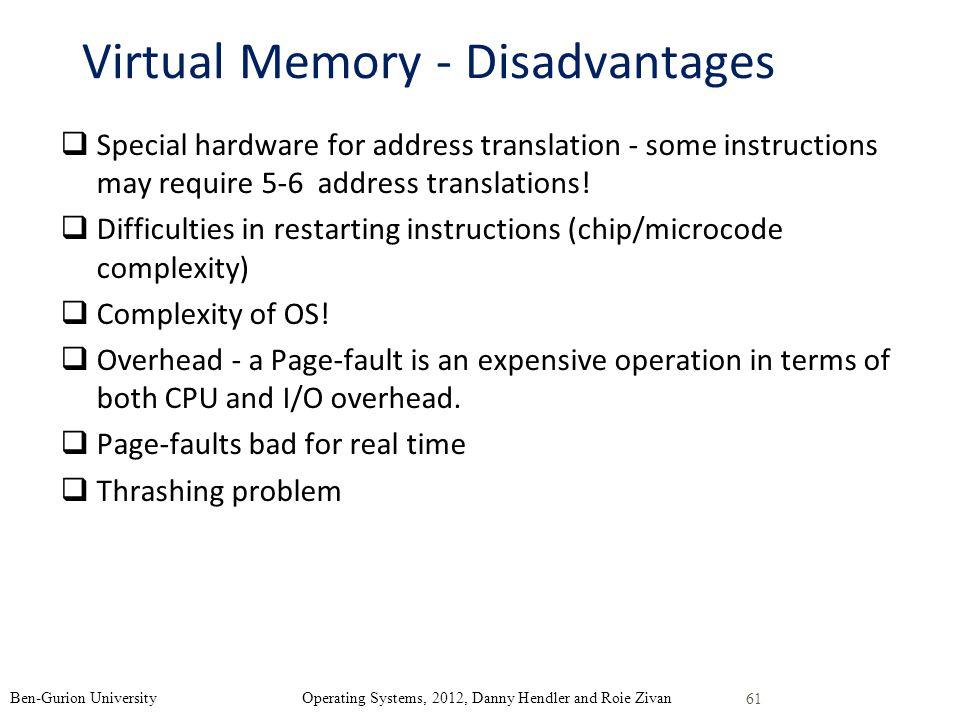 Virtual Memory - Disadvantages