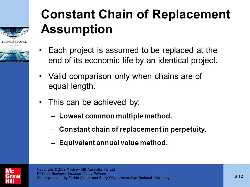 Constant Chain of Replacement Assumption