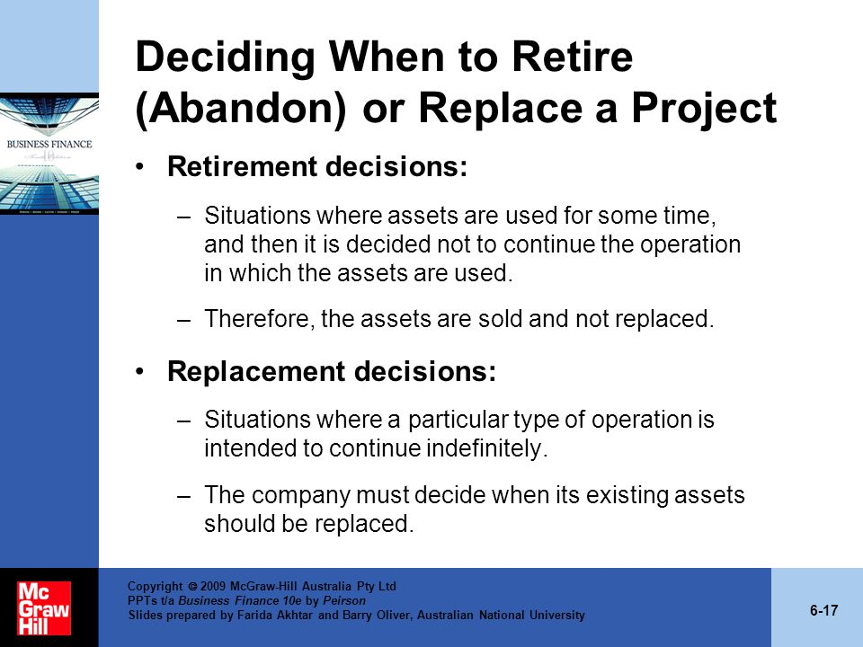 Deciding When to Retire (Abandon) or Replace a Project