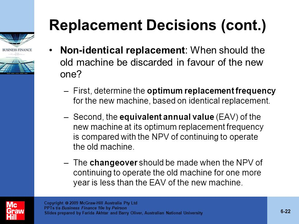 Replacement Decisions (cont.)