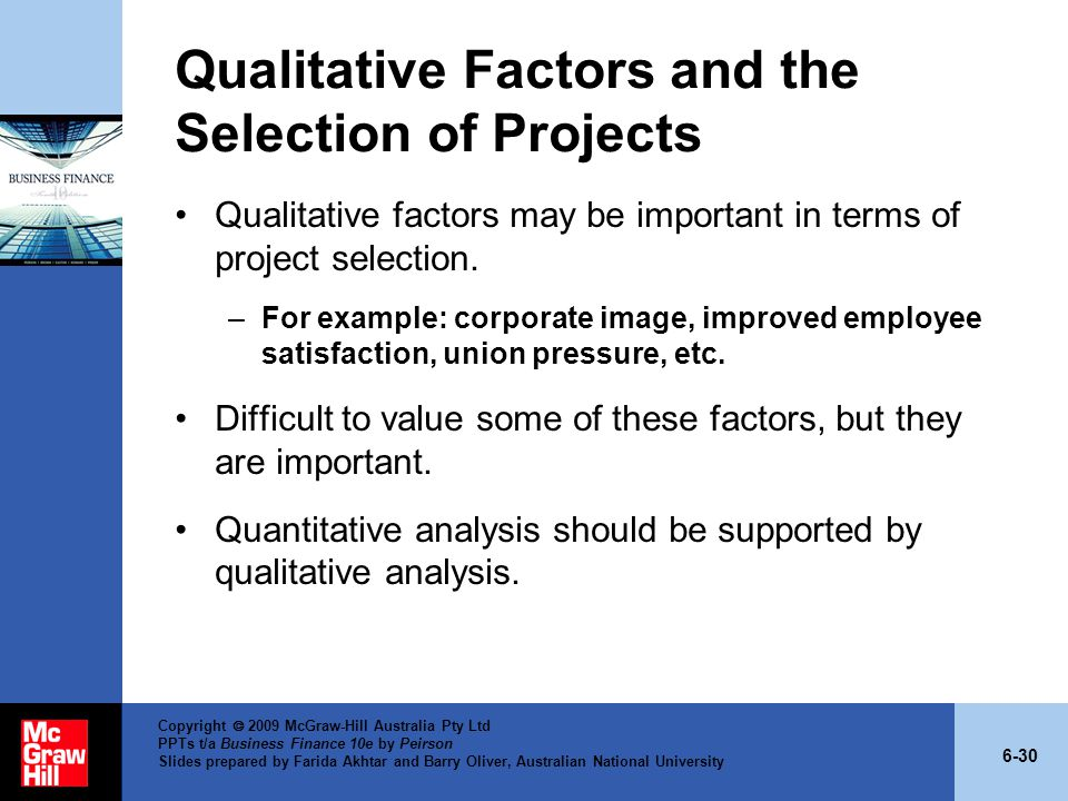Qualitative Factors and the Selection of Projects