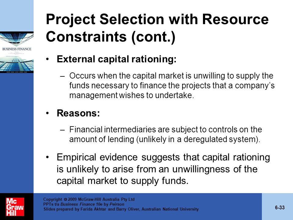 Project Selection with Resource Constraints (cont.)