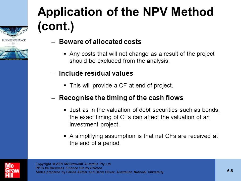 Application of the NPV Method (cont.)