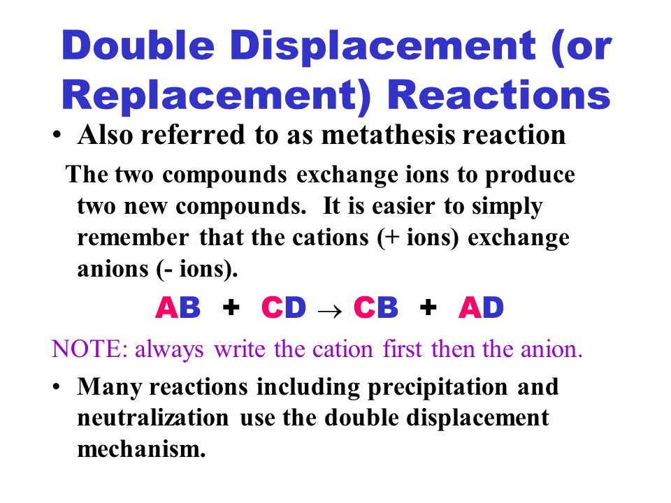 define exchange metathesis reaction What is another name for metathesis reactions is a metathesis reaction - definition of metathesis kinds of molecules exchange parts to form other.