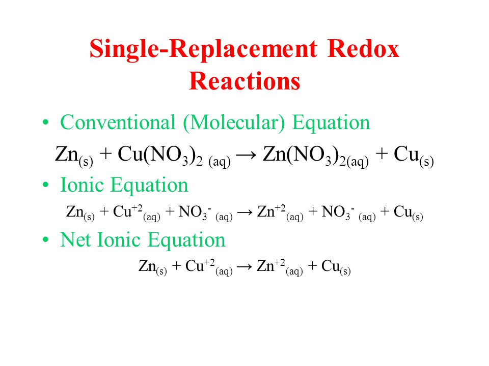 Single-Replacement Redox Reactions