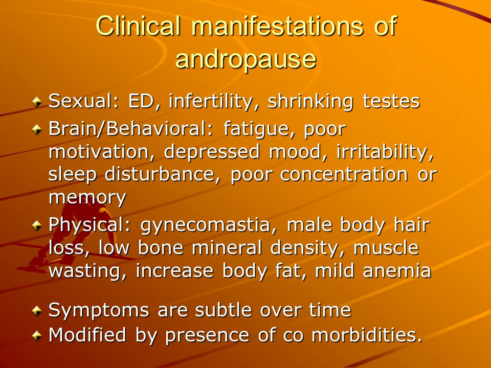 Clinical manifestations of andropause