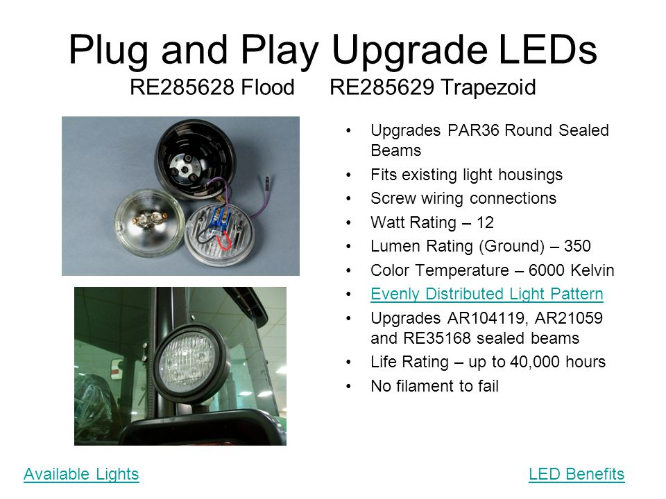 Plug and Play Upgrade LEDs RE285628 Flood RE285629 Trapezoid