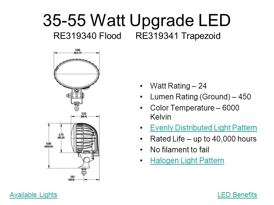 35-55 Watt Upgrade LED RE319340 Flood RE319341 Trapezoid