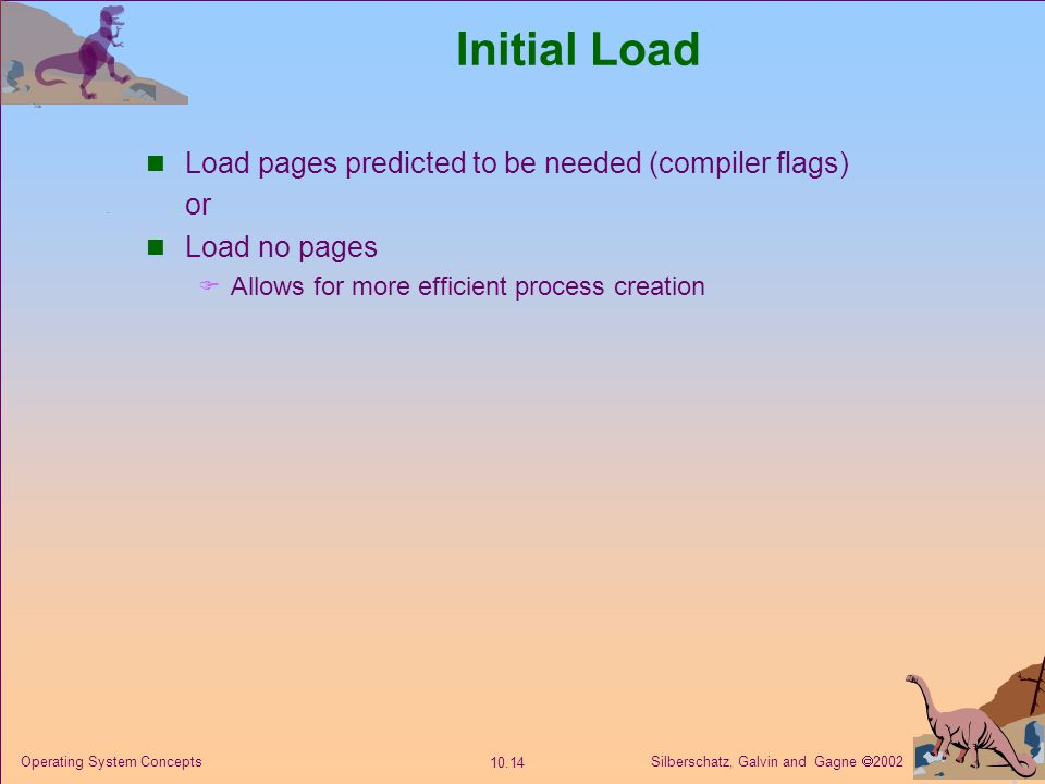 Initial Load Load pages predicted to be needed (compiler flags) or