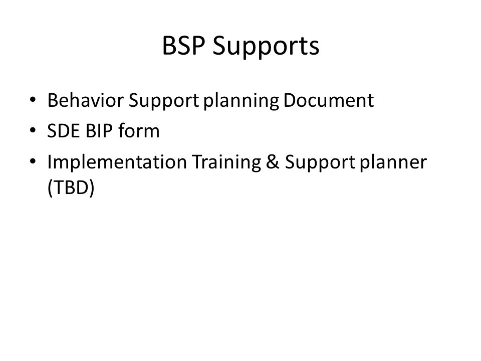 BSP Supports Behavior Support planning Document SDE BIP form