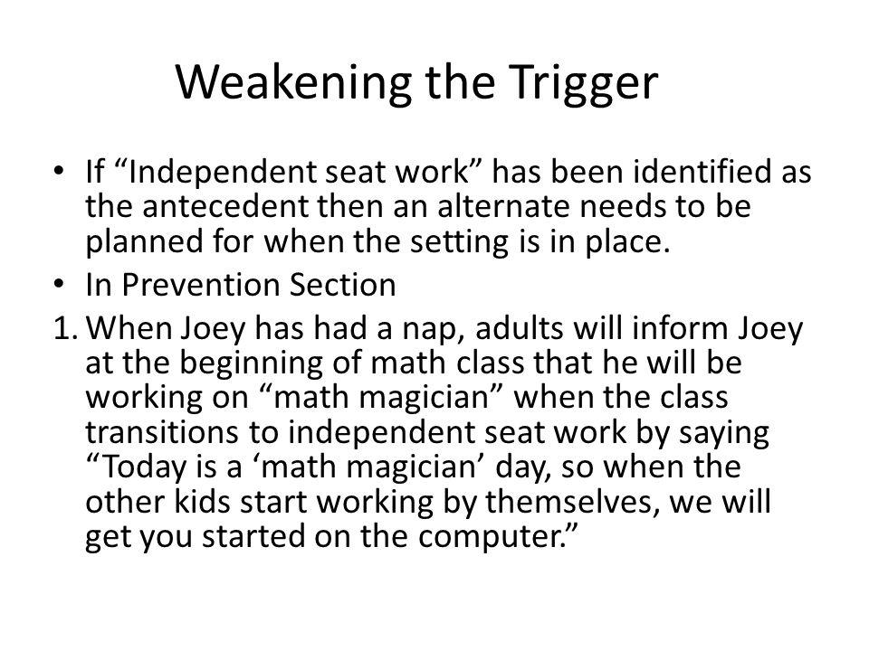Weakening the Trigger
