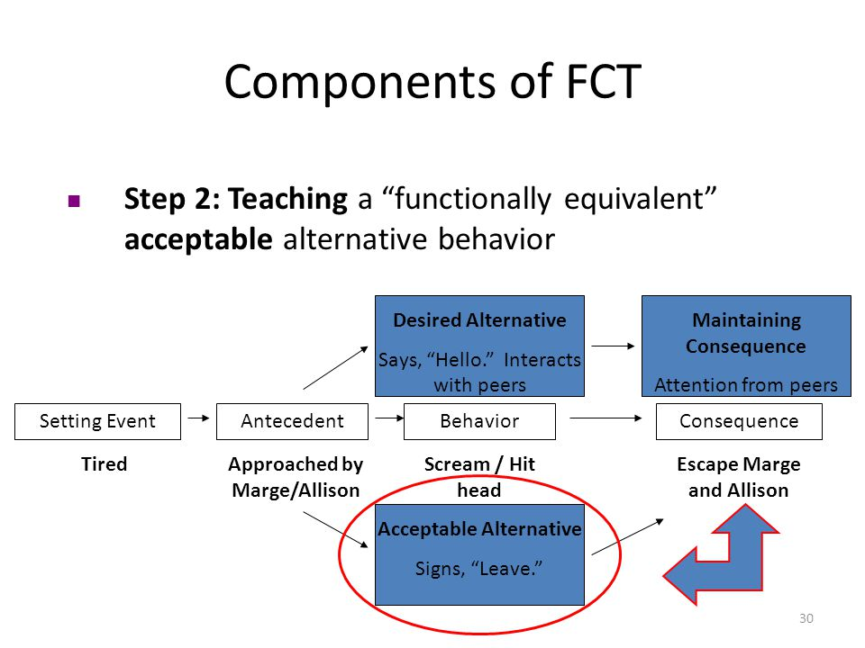 Components of FCT Step 2: Teaching a functionally equivalent acceptable alternative behavior. Desired Alternative.