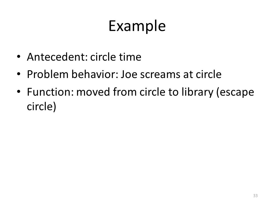 Example Antecedent: circle time