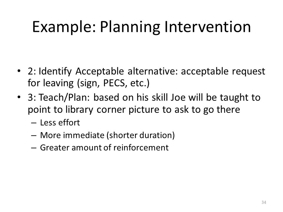Example: Planning Intervention