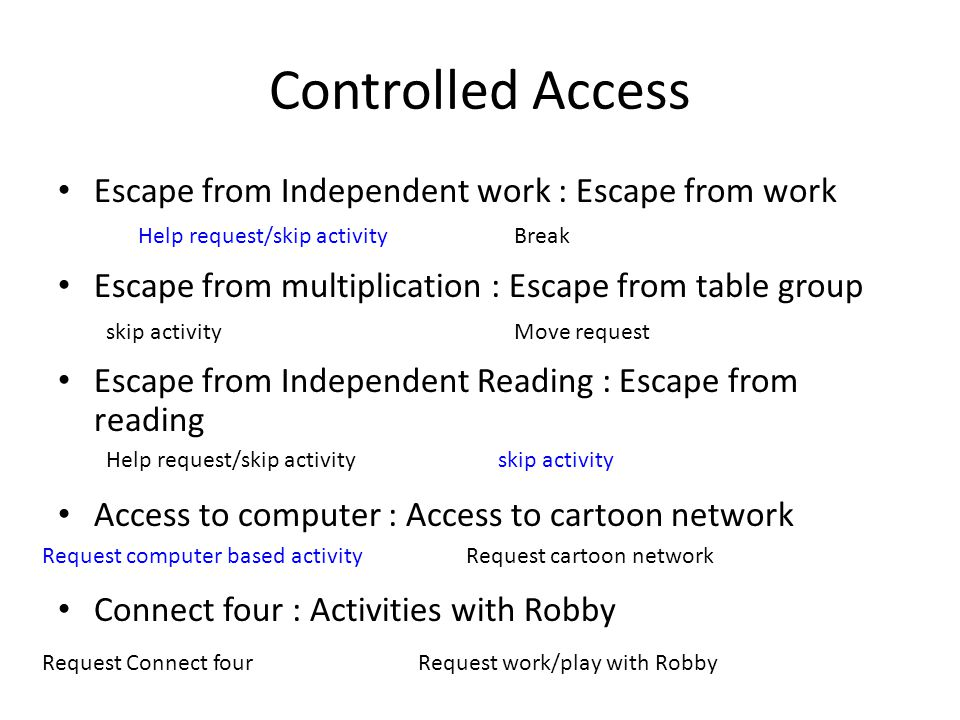 Controlled Access Escape from Independent work : Escape from work
