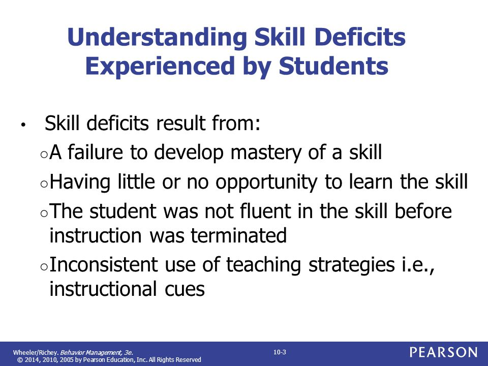 Understanding Skill Deficits Experienced by Students
