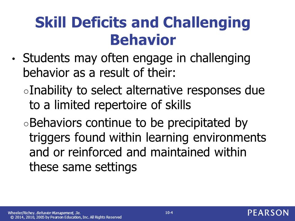 Skill Deficits and Challenging Behavior