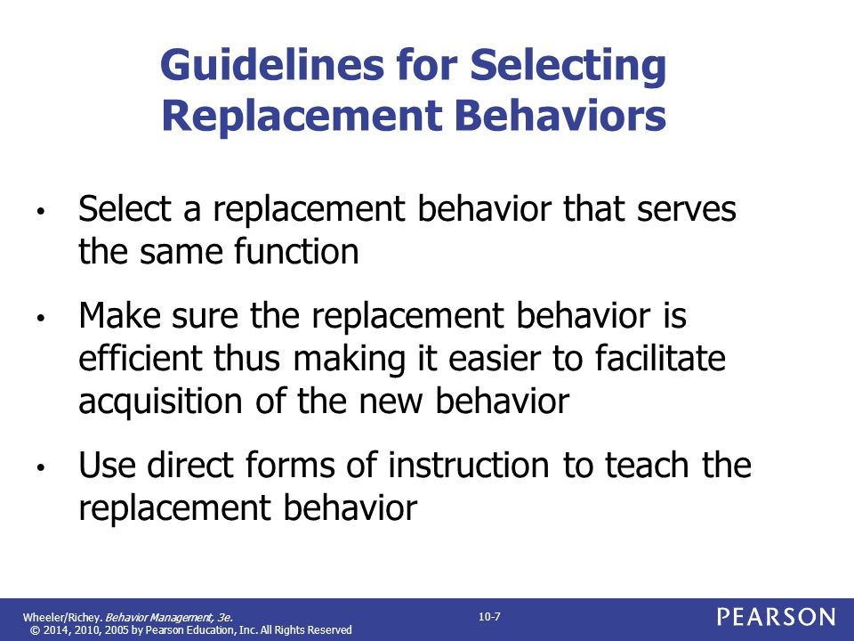 Guidelines for Selecting Replacement Behaviors