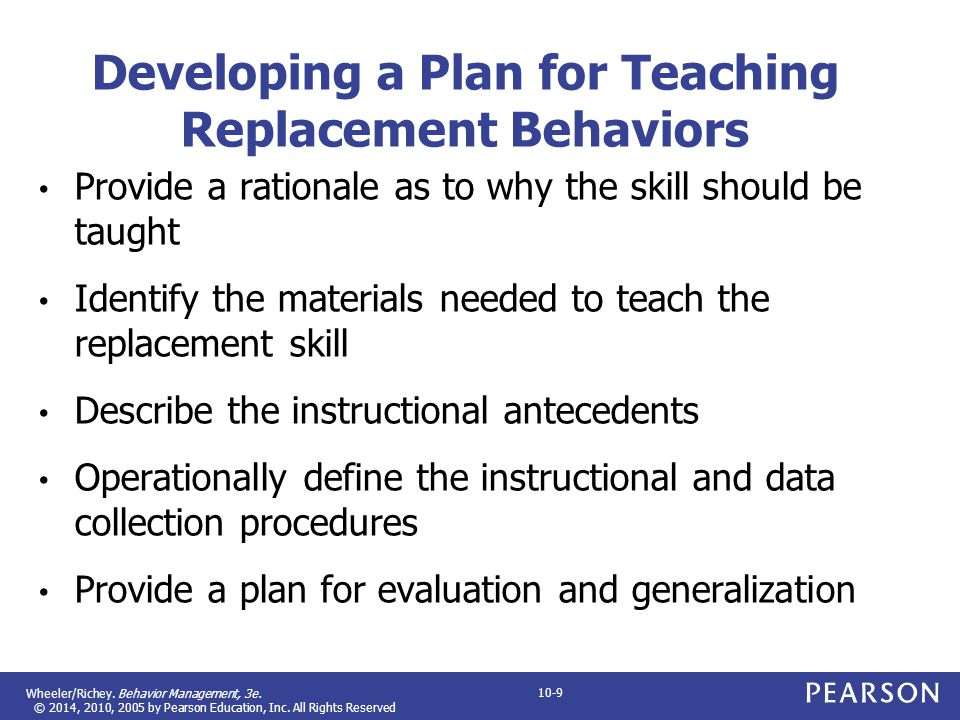 Developing a Plan for Teaching Replacement Behaviors