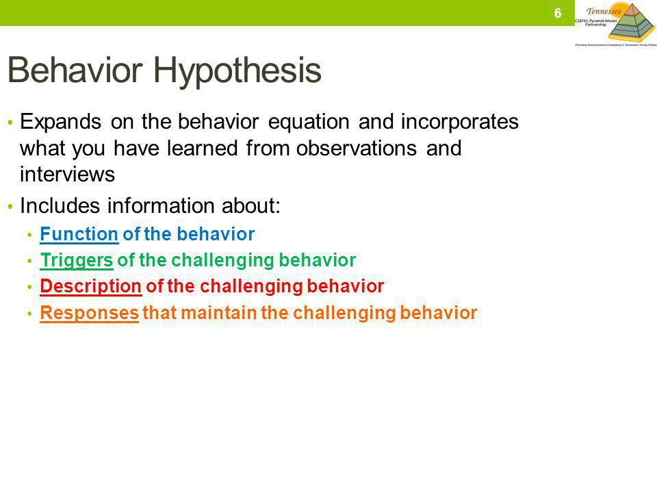 Behavior Hypothesis Expands on the behavior equation and incorporates what you have learned from observations and interviews.
