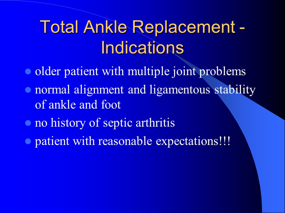 Total Ankle Replacement - Indications