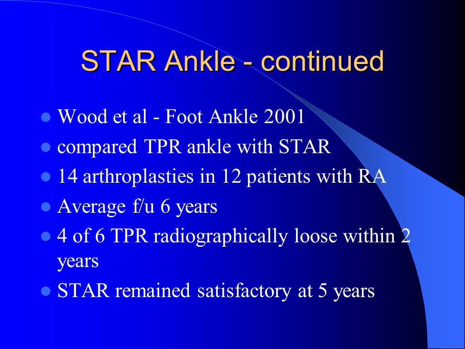 STAR Ankle - continued Wood et al - Foot Ankle 2001