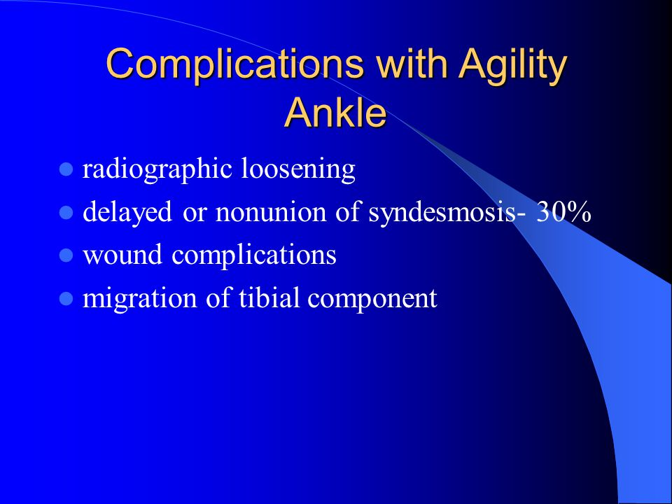 Complications with Agility Ankle