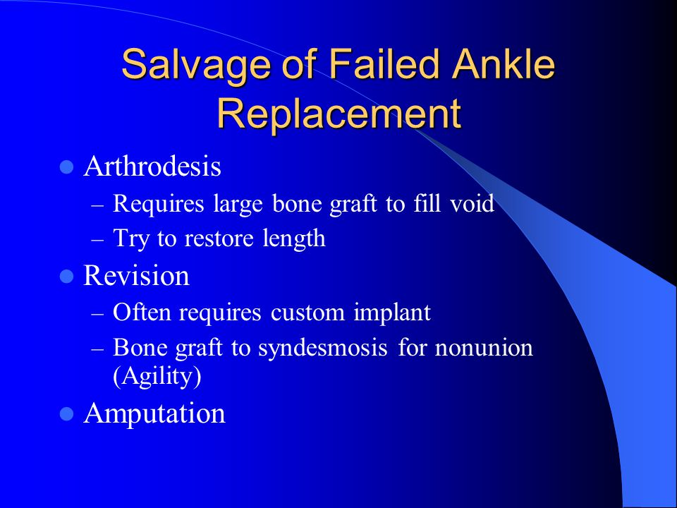 Salvage of Failed Ankle Replacement