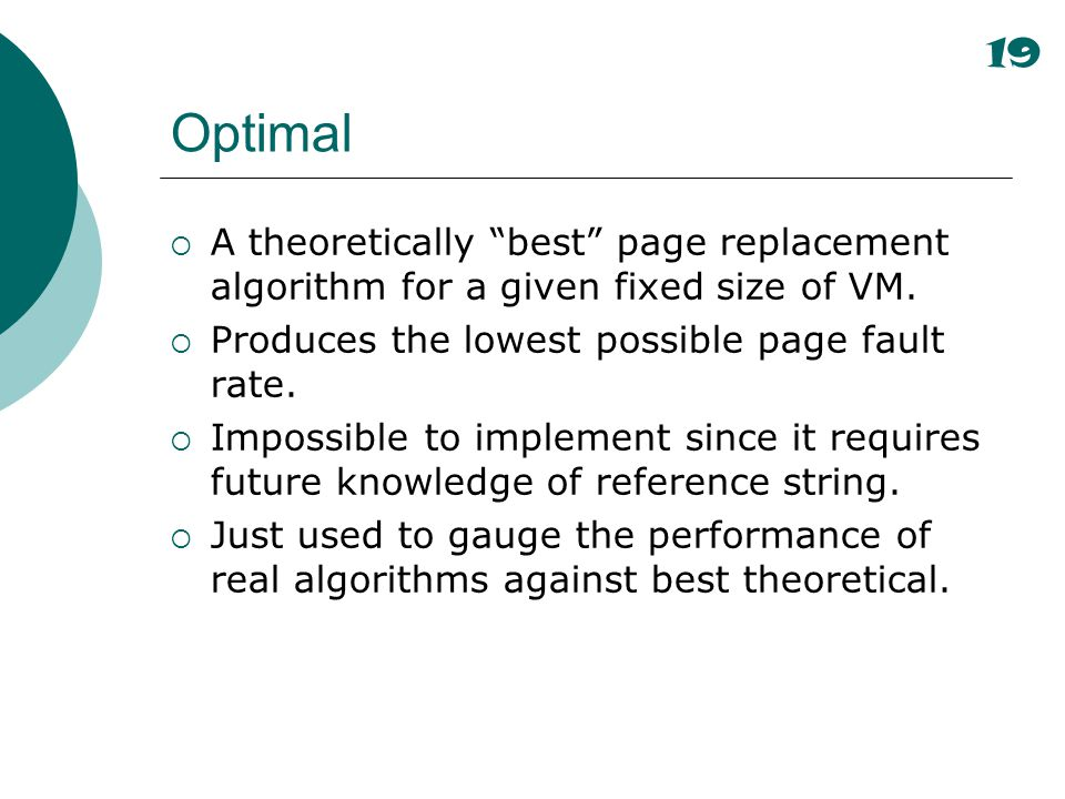 19 Optimal. A theoretically best page replacement algorithm for a given fixed size of VM. Produces the lowest possible page fault rate.
