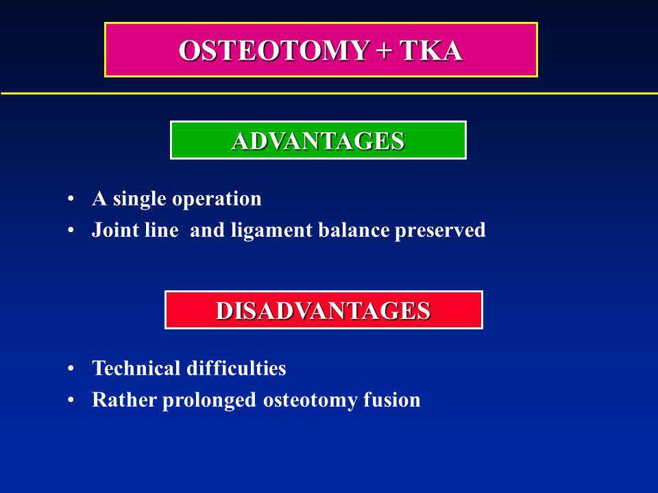 OSTEOTOMY + TKA ADVANTAGES DISADVANTAGES A single operation