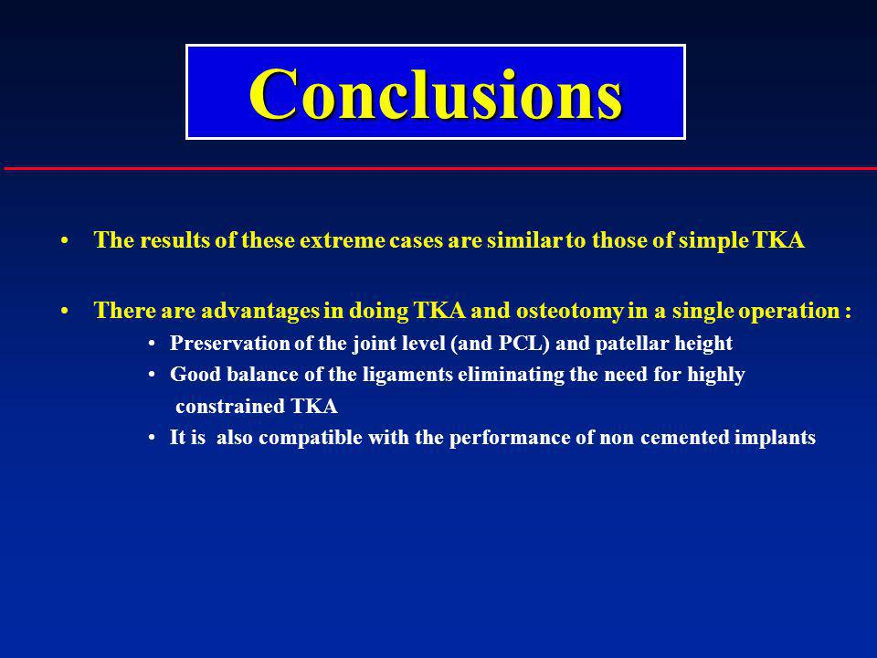Conclusions The results of these extreme cases are similar to those of simple TKA.