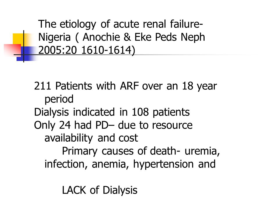 The etiology of acute renal failure- Nigeria ( Anochie & Eke Peds Neph 2005:20 1610-1614)