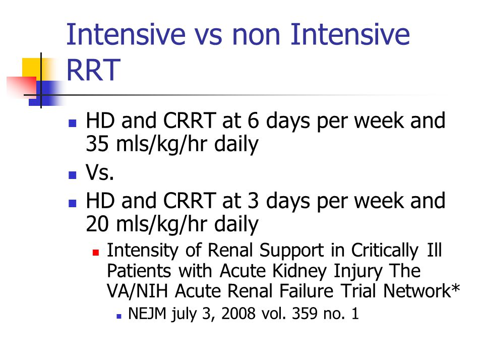 Intensive vs non Intensive RRT