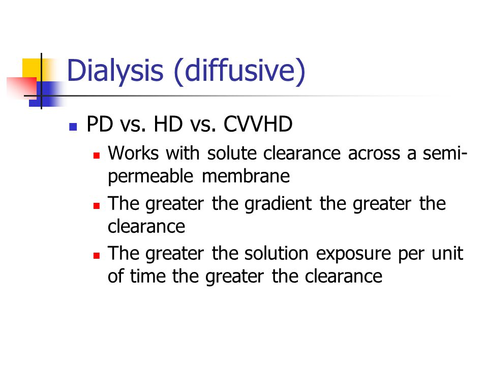 Dialysis (diffusive) PD vs. HD vs. CVVHD