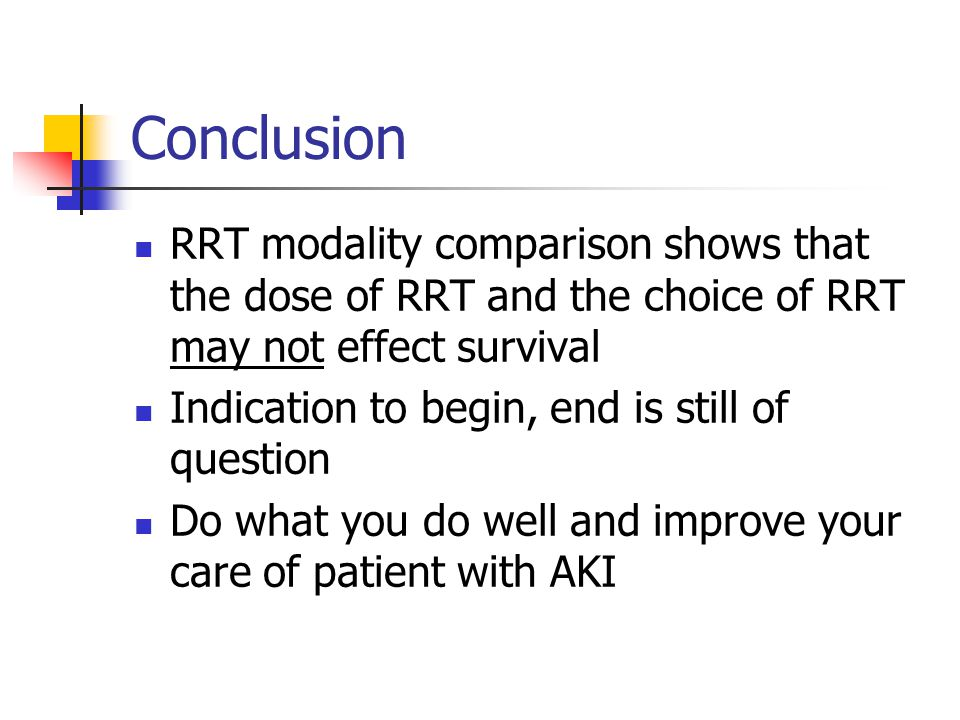 Conclusion RRT modality comparison shows that the dose of RRT and the choice of RRT may not effect survival.